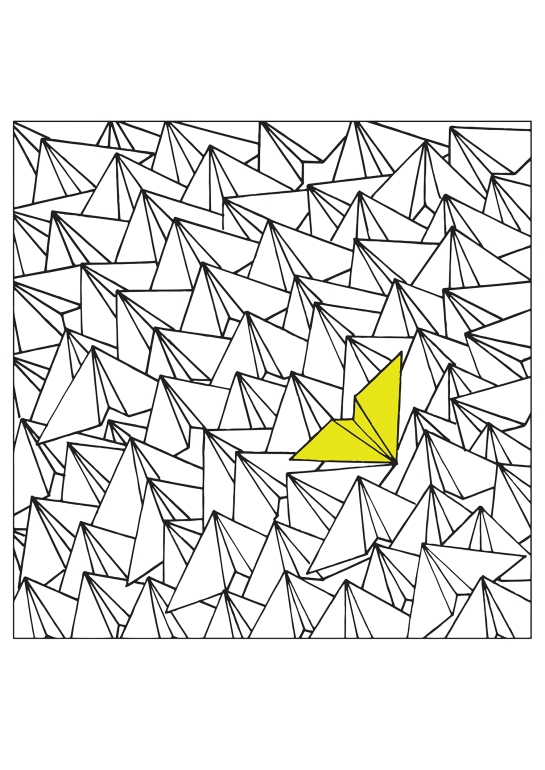 Yellow Paperplane 50 x 50 cm  Reprint of original illustration on sihl smooth matte paper S$ 285
