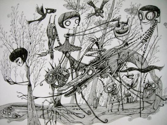Khairul Azmir Shoib, Nocturna 6, 2014, ink on paper, 42 x 29 cm