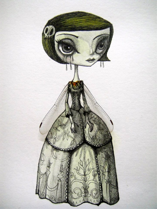 Meme, Fairy, 2014, acrylic, pencil, ink and insect's wings, 5 x 11 cm