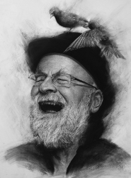 Terry Pratchett, Charcoal Drawing by Liu Ling; Print editions available