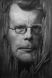 Stephen King, Charcoal Drawing by Liu Ling