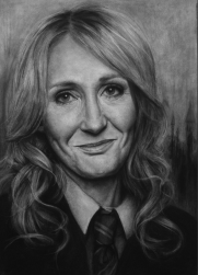 J.K. Rowling, Charcoal Drawing by Liu Ling