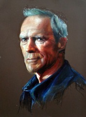Clint Eastwood, Oil Bar on Paper