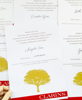 Handwritten Tree Certificates for Clarins' trade and media event (Photo credit: @theworkroom.sg)